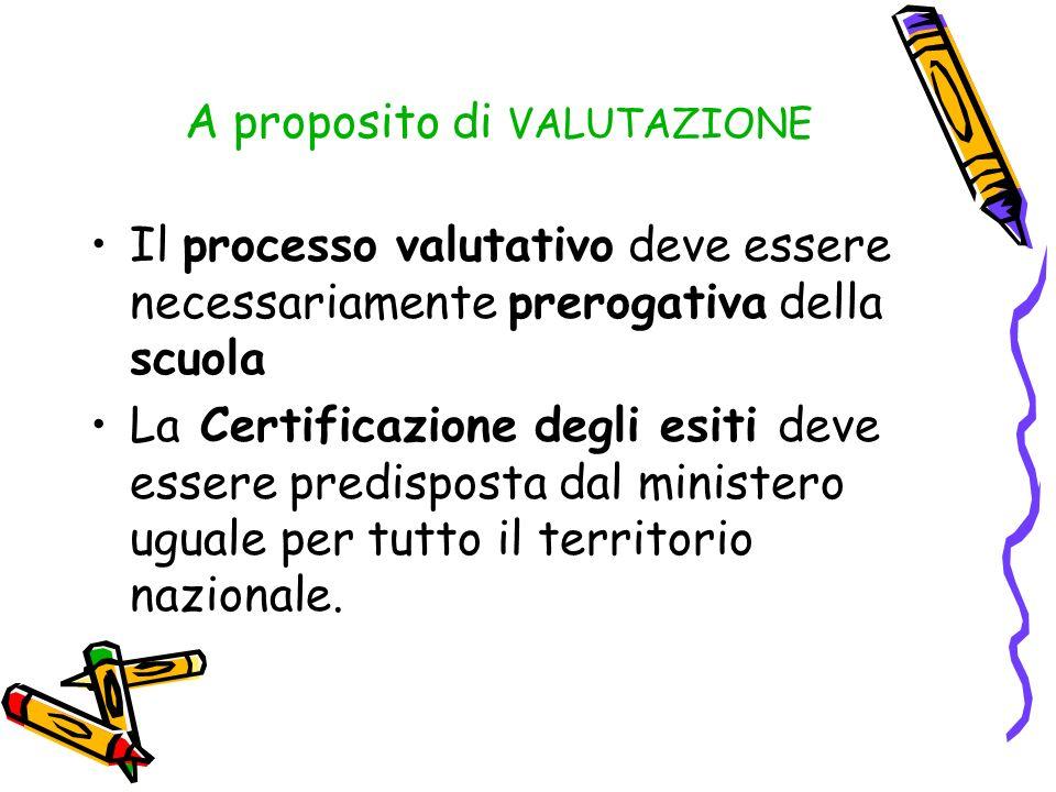 A proposito di VALUTAZIONE Il processo valutativo deve essere necessariamente prerogativa della scuola La Certificazione degli esiti deve essere predi
