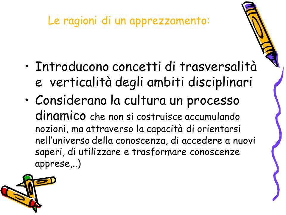 Le ragioni di un apprezzamento: Introducono concetti di trasversalità e verticalità degli ambiti disciplinari Considerano la cultura un processo dinam