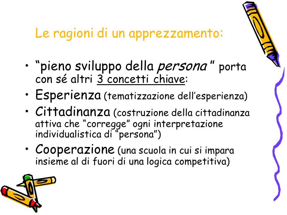 Le ragioni di un apprezzamento: pieno sviluppo della persona porta con sé altri 3 concetti chiave: Esperienza (tematizzazione dellesperienza) Cittadin