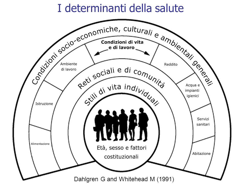 Determinanti sociali: punti di forza Rispetto alla media italiana: –meno problemi sociali –più lavoro –il reddito è maggiore e distribuito un maniera più equa –la qualità dellistruzione è buona –la qualità del servizio sanitario è buona –lambiente naturale è una risorsa per la salute