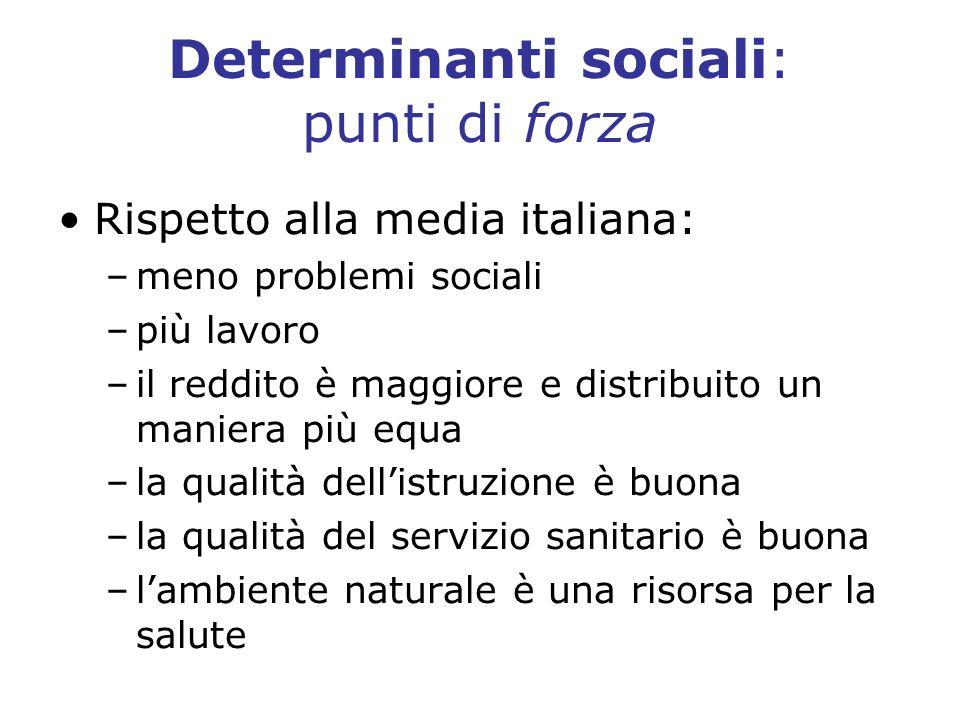 Determinanti sociali: punti di forza Rispetto alla media italiana: –meno problemi sociali –più lavoro –il reddito è maggiore e distribuito un maniera