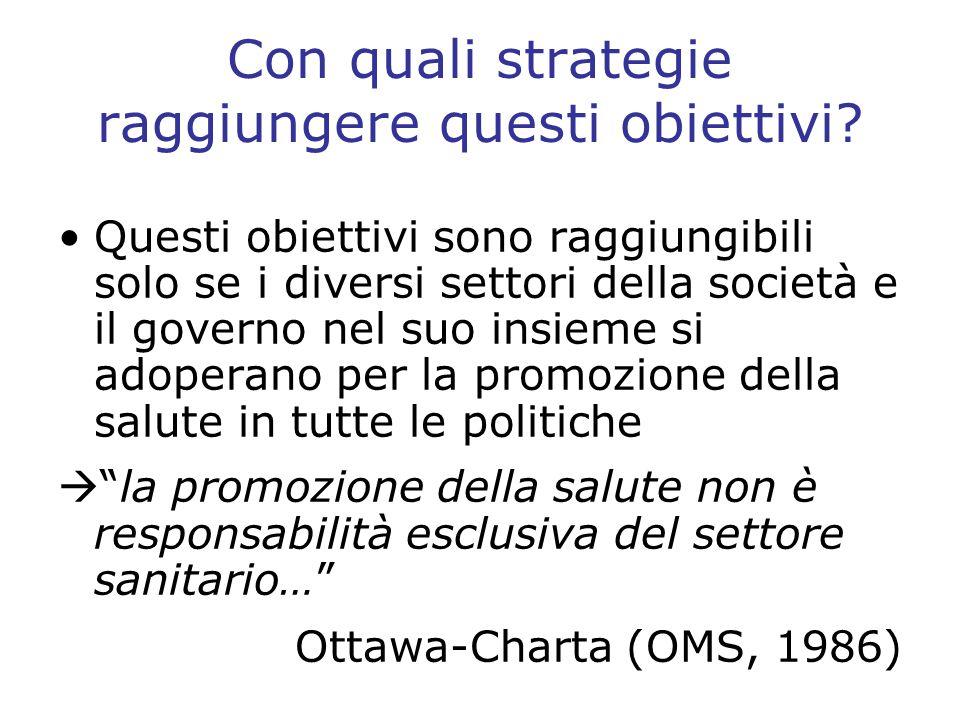 Con quali strategie raggiungere questi obiettivi? Questi obiettivi sono raggiungibili solo se i diversi settori della società e il governo nel suo ins