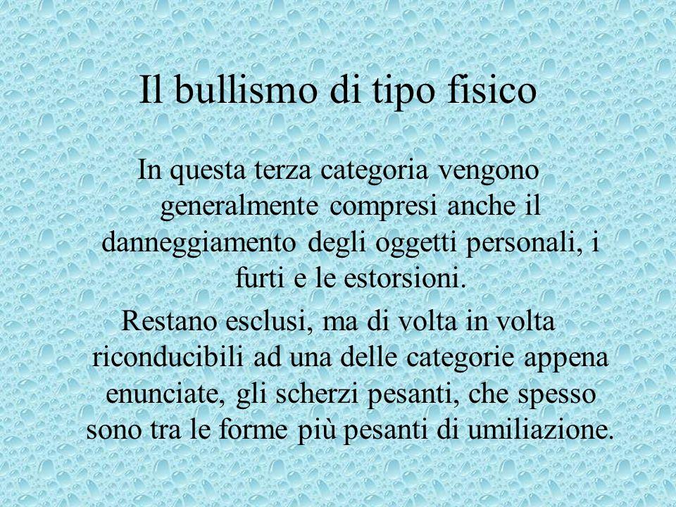 Le manifestazioni del bullismo Il bullismo può esprimersi attraverso forme diverse : Psicologica (esclusione, maldicenze), prevalentemente femminile;