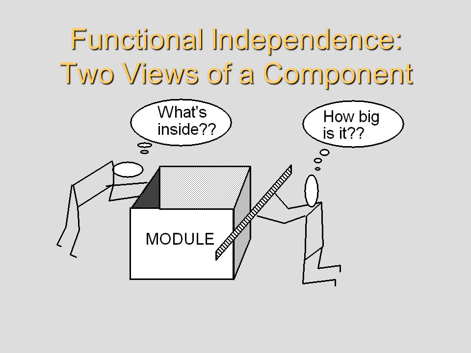 Functional Independence COHESION - the degree to which a module performs one and only one functionality.