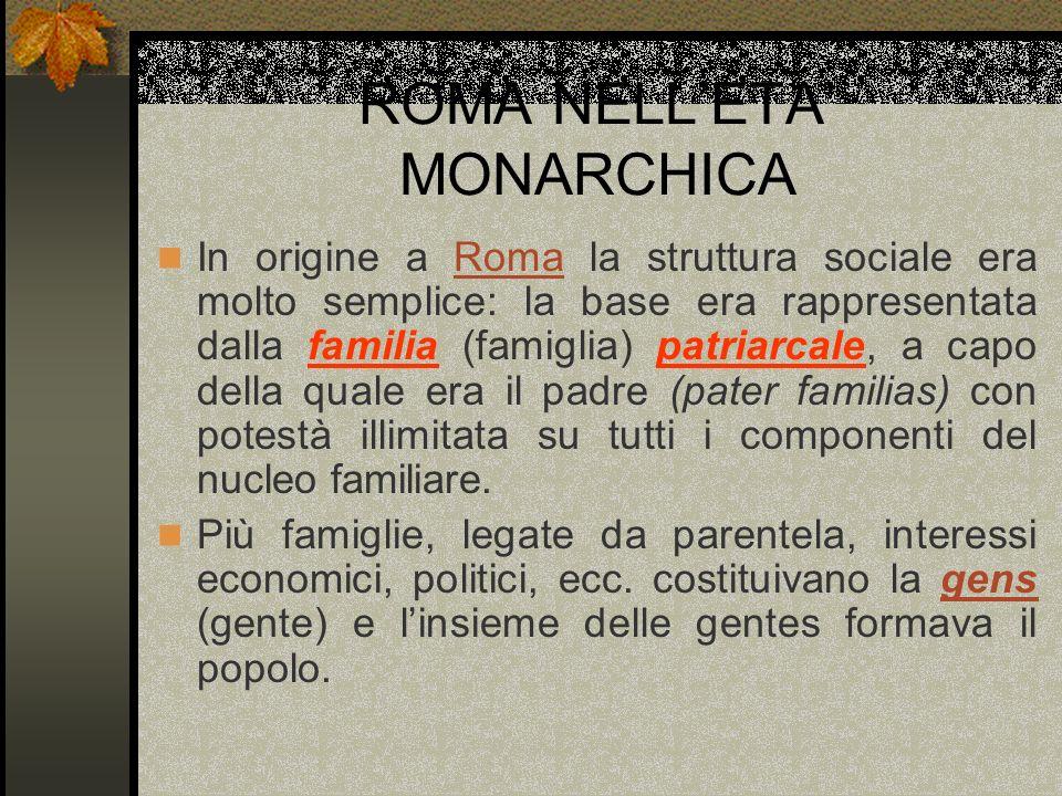 ROMA NELLETA MONARCHICA In origine a Roma la struttura sociale era molto semplice: la base era rappresentata dalla familia (famiglia) patriarcale, a c