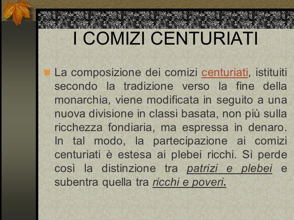 I COMIZI CENTURIATI La composizione dei comizi centuriati, istituiti secondo la tradizione verso la fine della monarchia, viene modificata in seguito