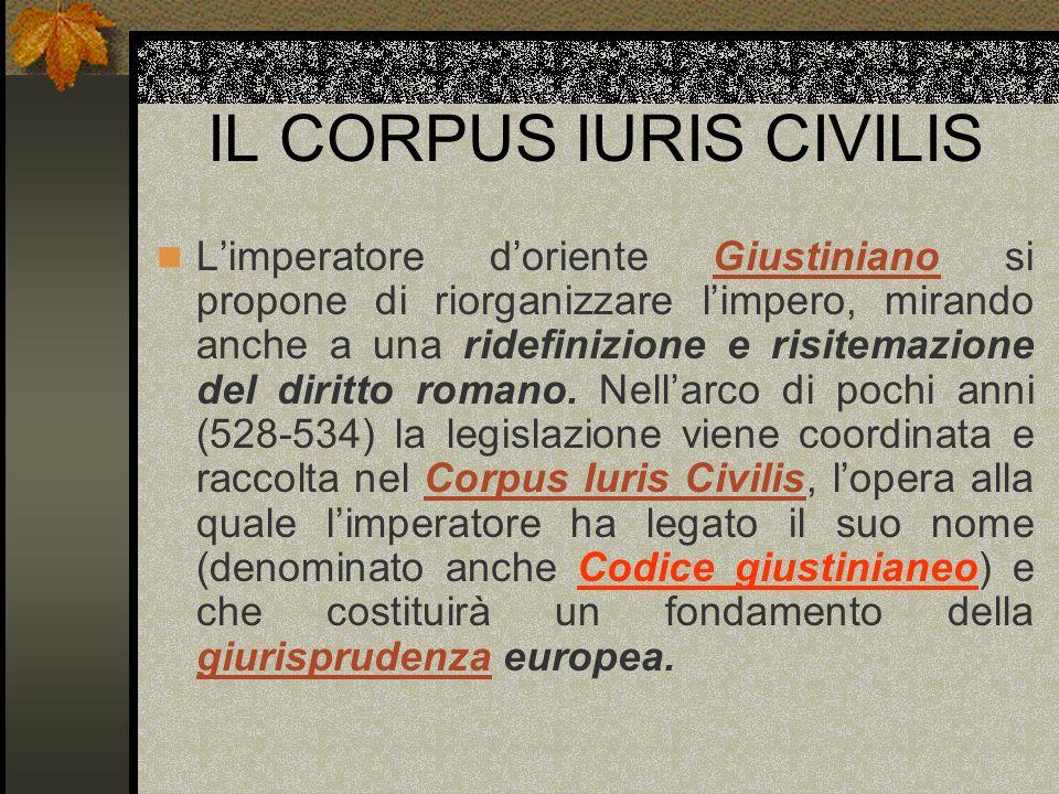 IL CORPUS IURIS CIVILIS Limperatore doriente Giustiniano si propone di riorganizzare limpero, mirando anche a una ridefinizione e risitemazione del di