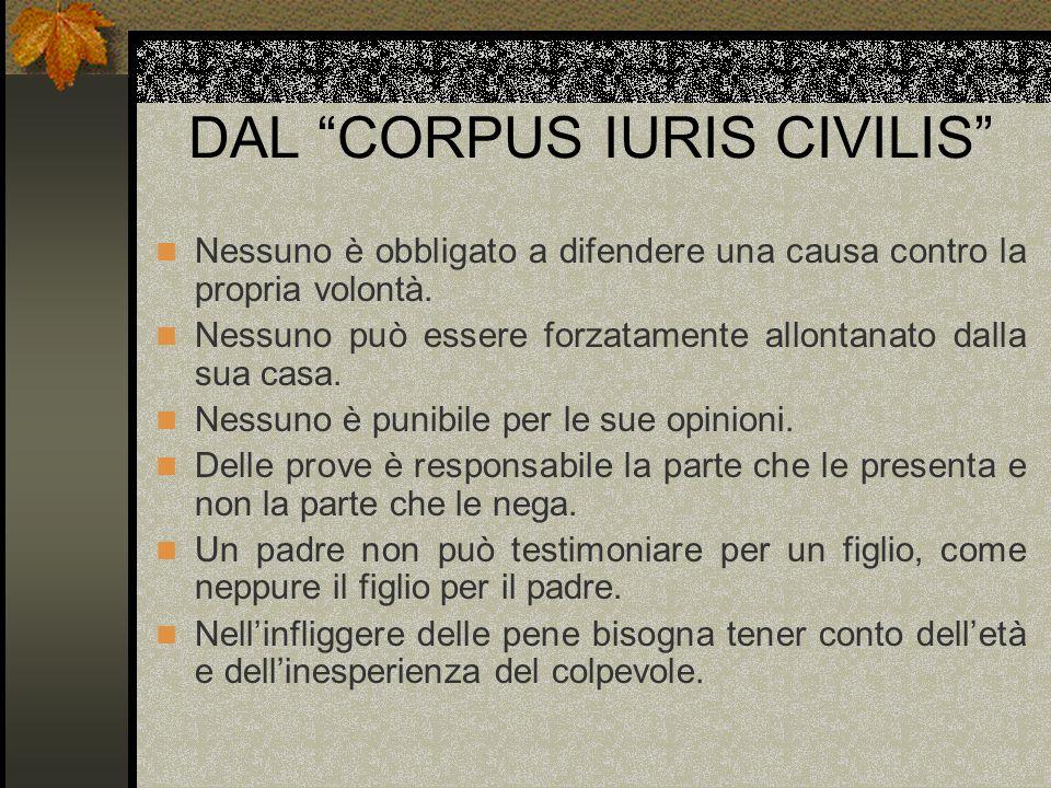 DAL CORPUS IURIS CIVILIS Nessuno è obbligato a difendere una causa contro la propria volontà. Nessuno può essere forzatamente allontanato dalla sua ca