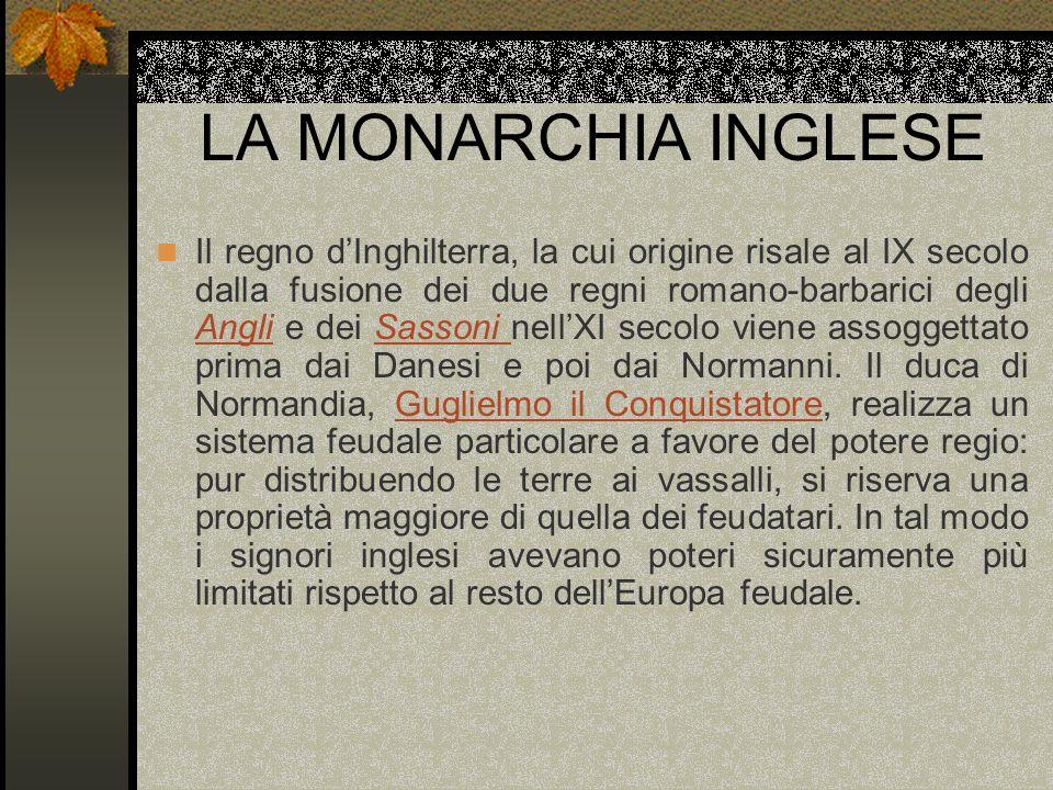 LA MONARCHIA INGLESE Il regno dInghilterra, la cui origine risale al IX secolo dalla fusione dei due regni romano-barbarici degli Angli e dei Sassoni