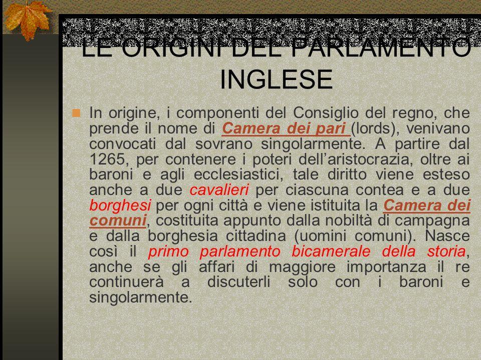 LE ORIGINI DEL PARLAMENTO INGLESE In origine, i componenti del Consiglio del regno, che prende il nome di Camera dei pari (lords), venivano convocati