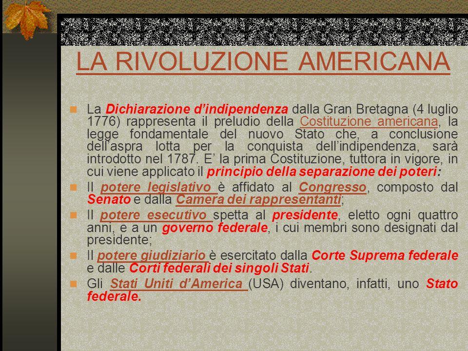 LA RIVOLUZIONE AMERICANA La Dichiarazione dindipendenza dalla Gran Bretagna (4 luglio 1776) rappresenta il preludio della Costituzione americana, la l