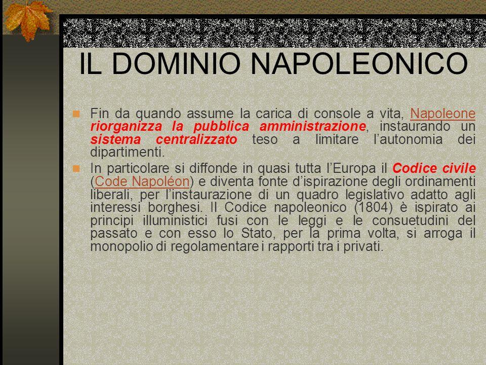 IL DOMINIO NAPOLEONICO Fin da quando assume la carica di console a vita, Napoleone riorganizza la pubblica amministrazione, instaurando un sistema cen