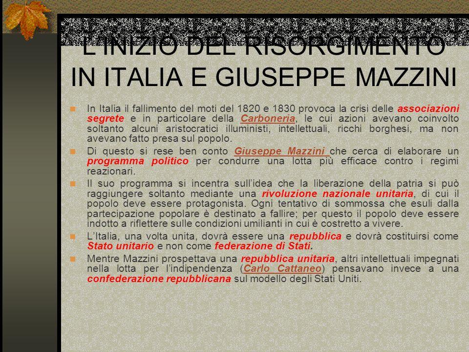 LINIZIO DEL RISORGIMENTO IN ITALIA E GIUSEPPE MAZZINI In Italia il fallimento del moti del 1820 e 1830 provoca la crisi delle associazioni segrete e i