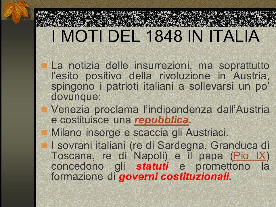 I MOTI DEL 1848 IN ITALIA La notizia delle insurrezioni, ma soprattutto lesito positivo della rivoluzione in Austria, spingono i patrioti italiani a s