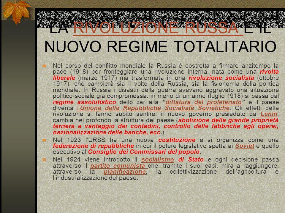 LA RIVOLUZIONE RUSSA E IL NUOVO REGIME TOTALITARIORIVOLUZIONE RUSSA Nel corso del conflitto mondiale la Russia è costretta a firmare anzitempo la pace