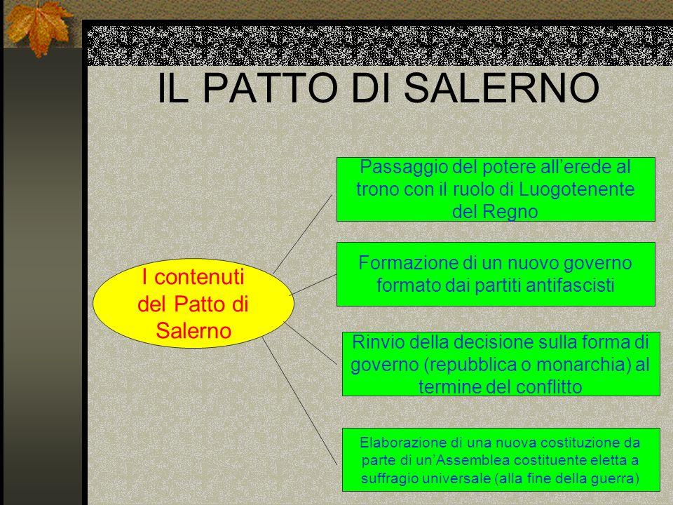 IL PATTO DI SALERNO I contenuti del Patto di Salerno Passaggio del potere allerede al trono con il ruolo di Luogotenente del Regno Formazione di un nu