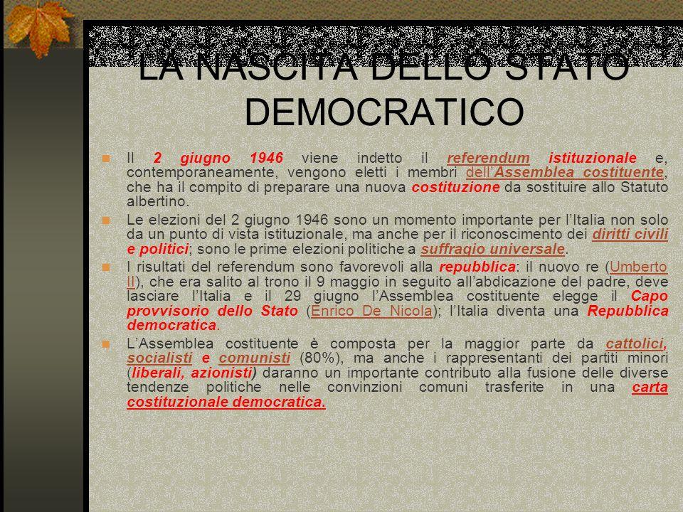 LA NASCITA DELLO STATO DEMOCRATICO Il 2 giugno 1946 viene indetto il referendum istituzionale e, contemporaneamente, vengono eletti i membri dellAssem