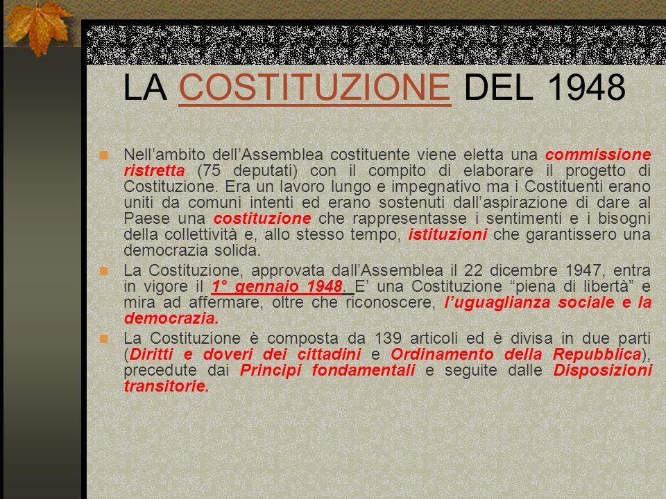 LA COSTITUZIONE DEL 1948COSTITUZIONE Nellambito dellAssemblea costituente viene eletta una commissione ristretta (75 deputati) con il compito di elabo