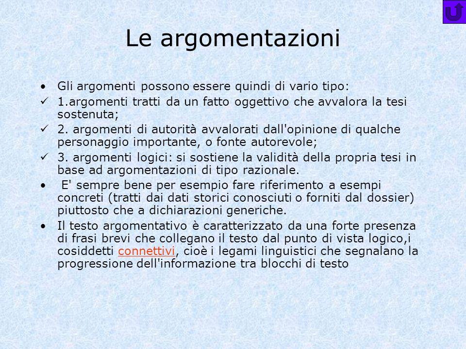 Le argomentazioni Gli argomenti possono essere quindi di vario tipo: 1.argomenti tratti da un fatto oggettivo che avvalora la tesi sostenuta; 2. argom