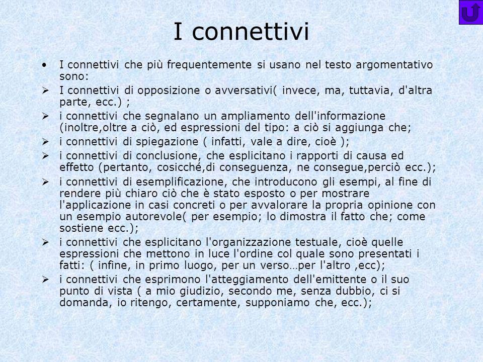 I connettivi I connettivi che più frequentemente si usano nel testo argomentativo sono: I connettivi di opposizione o avversativi( invece, ma, tuttavi