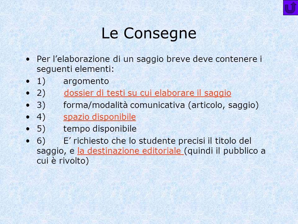 Le Consegne Per lelaborazione di un saggio breve deve contenere i seguenti elementi: 1) argomento 2) dossier di testi su cui elaborare il saggiodossie