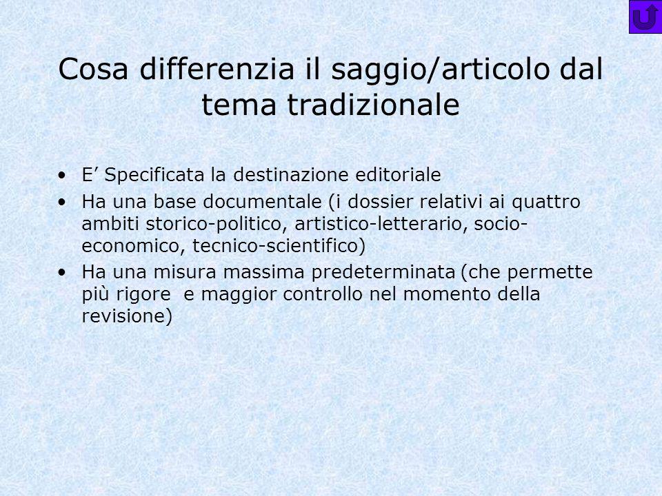 Cosa differenzia il saggio/articolo dal tema tradizionale E Specificata la destinazione editoriale Ha una base documentale (i dossier relativi ai quat
