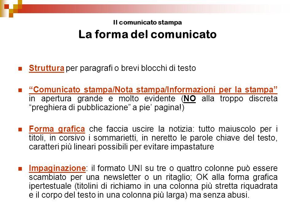Il comunicato stampa politico Trucchi del mestiere Come evitare la noia In caso di notizia noiosa (p.