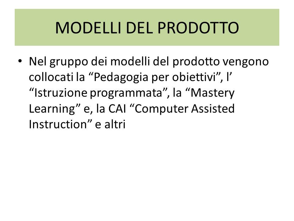 MODELLI DEL PROCESSO Questi modelli hanno una decisa propensione per il metodo, inteso come procedura di pensiero riflessivo da privilegiare nell insegnamento.