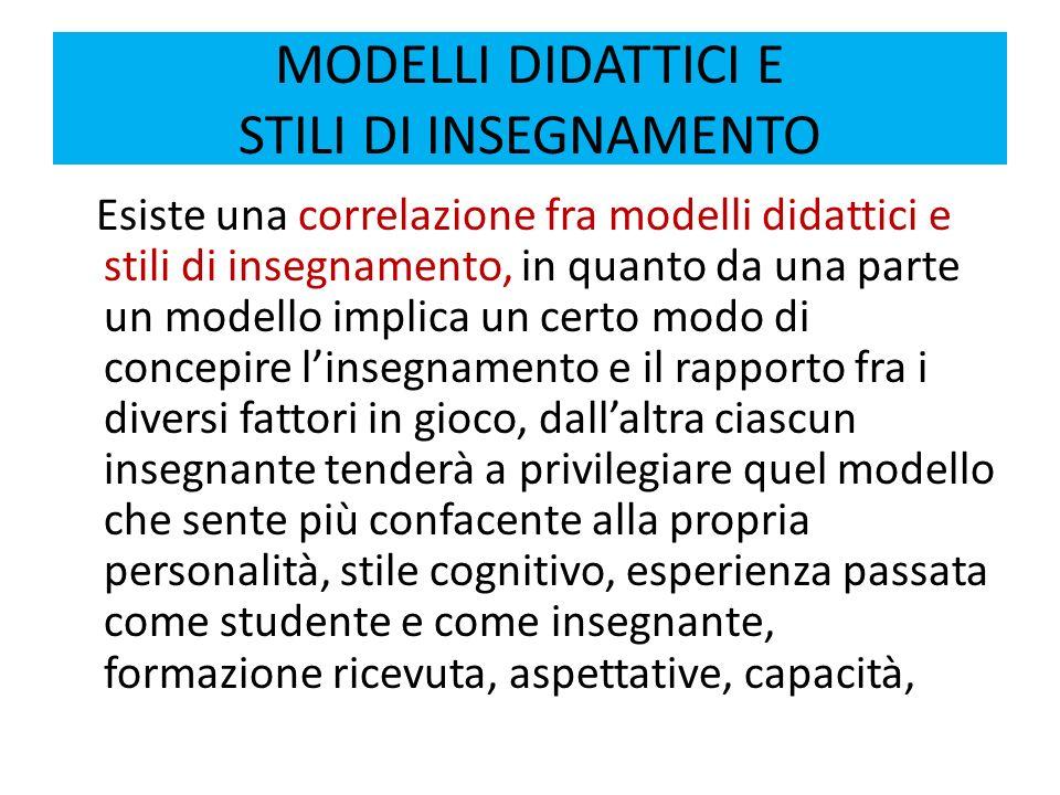 MODELLI DIDATTICI E STILI DI INSEGNAMENTO Modelli didattici Stili di insegnamento