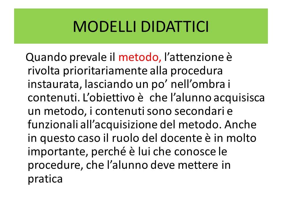 MODELLI DIATTICI Unaltra classificazione dei modelli didattici attualmente proposti è quella sinteticamente presentata da Elio Damiano in La Nuova Secondaria, settembre 1998 n° 1.