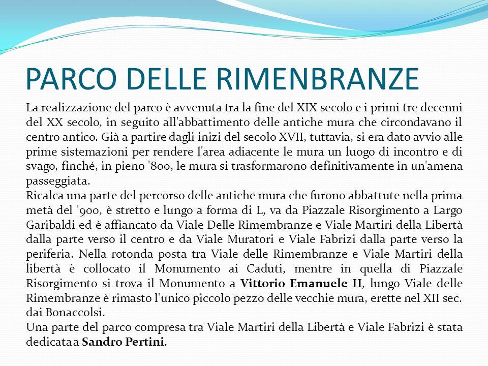 Masso del Monte Grappa Il masso fu collocato nel Parco della Rimembranza a ricordo dei luoghi di battaglia dove morirono 960 militari modenesi impegnati nelle operazioni militari della Prima Guerra Mondiale che venne considerata la IV Guerra del Risorgimento italiano.