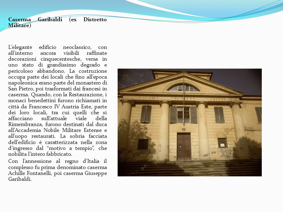 Monumenti dei due Garibaldini Le statue erano originariamente collocate sui due edifici della Gabella posti alla Barriera Garibaldi, simmetrici rispetto la via Emilia.