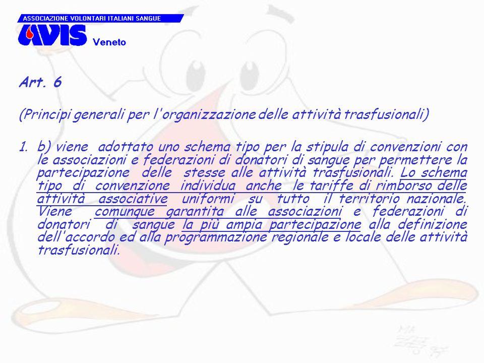 Art. 6 (Principi generali per l'organizzazione delle attività trasfusionali) 1.b) viene adottato uno schema tipo per la stipula di convenzioni con le