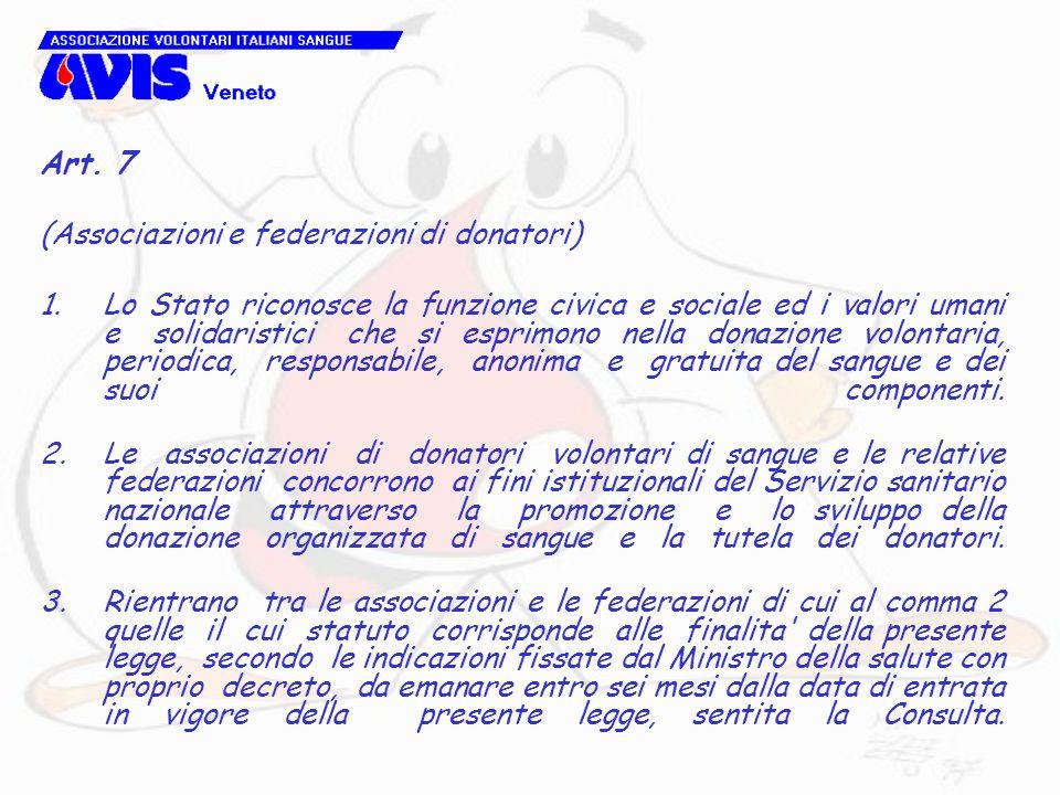 Art. 7 (Associazioni e federazioni di donatori) 1.Lo Stato riconosce la funzione civica e sociale ed i valori umani e solidaristici che si esprimono n