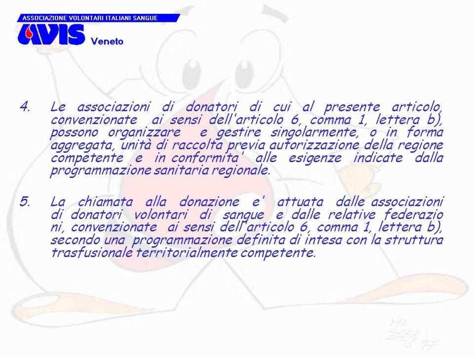 4.Le associazioni di donatori di cui al presente articolo, convenzionate ai sensi dell'articolo 6, comma 1, lettera b), possono organizzare e gestire