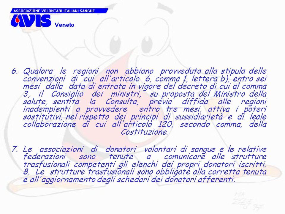 6.Qualora le regioni non abbiano provveduto alla stipula delle convenzioni di cui all'articolo 6, comma 1, lettera b), entro sei mesi dalla data di en