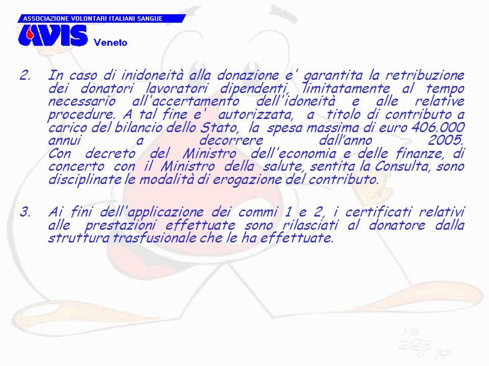 2.In caso di inidoneità alla donazione e' garantita la retribuzione dei donatori lavoratori dipendenti, limitatamente al tempo necessario all'accertam