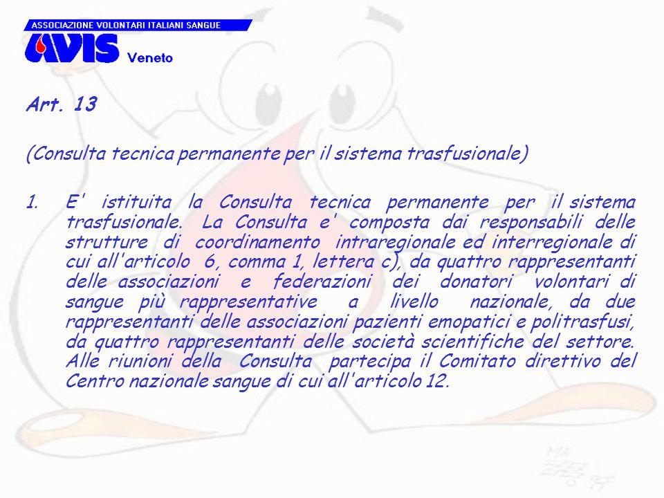 Art. 13 (Consulta tecnica permanente per il sistema trasfusionale) 1.E' istituita la Consulta tecnica permanente per il sistema trasfusionale. La Cons