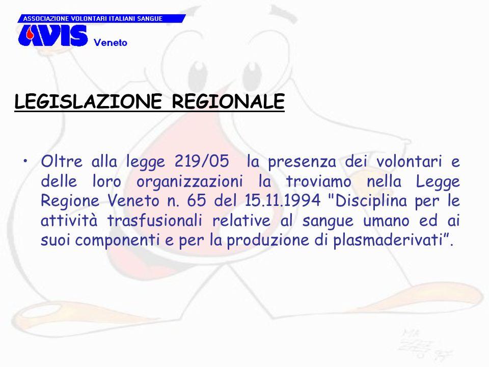LEGISLAZIONE REGIONALE Oltre alla legge 219/05 la presenza dei volontari e delle loro organizzazioni la troviamo nella Legge Regione Veneto n. 65 del