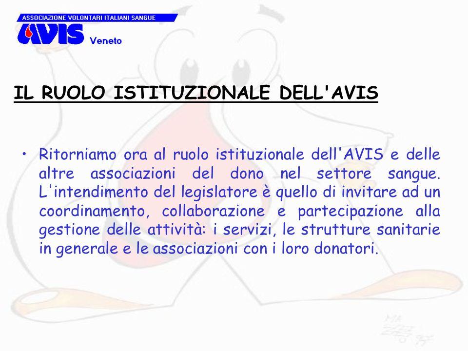 IL RUOLO ISTITUZIONALE DELL'AVIS Ritorniamo ora al ruolo istituzionale dell'AVIS e delle altre associazioni del dono nel settore sangue. L'intendiment