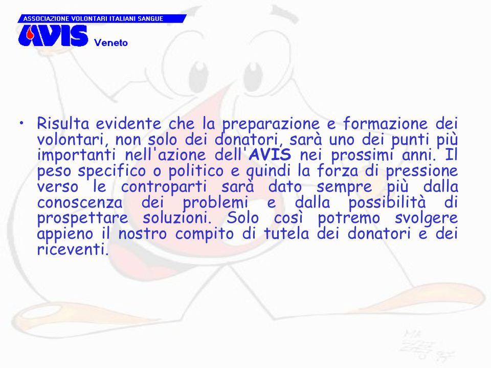 Risulta evidente che la preparazione e formazione dei volontari, non solo dei donatori, sarà uno dei punti più importanti nell'azione dell'AVIS nei pr