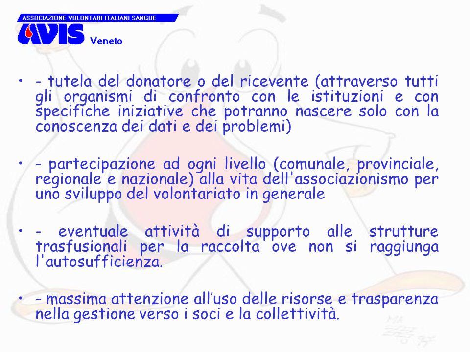 - tutela del donatore o del ricevente (attraverso tutti gli organismi di confronto con le istituzioni e con specifiche iniziative che potranno nascere