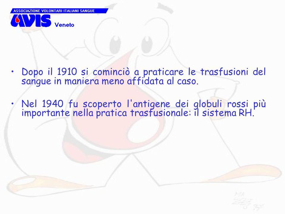 Dopo il 1910 si cominciò a praticare le trasfusioni del sangue in maniera meno affidata al caso. Nel 1940 fu scoperto l'antigene dei globuli rossi più