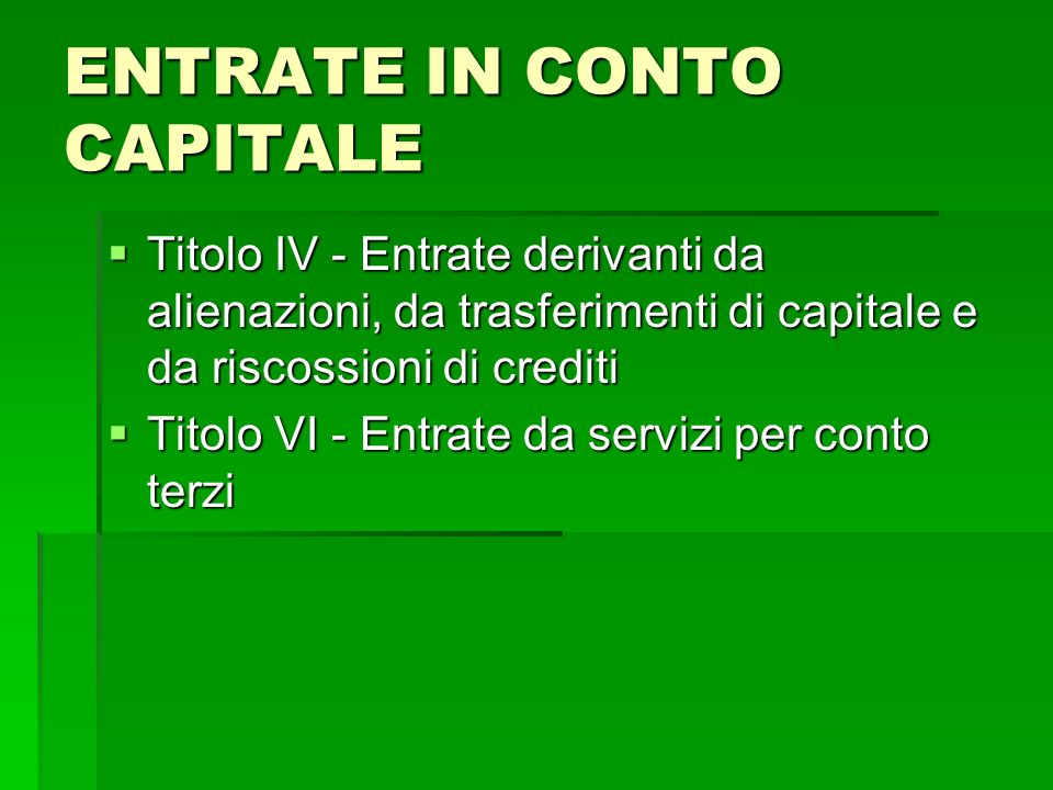 ENTRATE IN CONTO CAPITALE Titolo IV - Entrate derivanti da alienazioni, da trasferimenti di capitale e da riscossioni di crediti Titolo IV - Entrate d