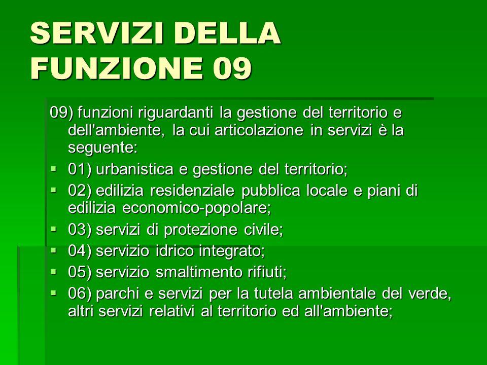 SERVIZI DELLA FUNZIONE 09 09) funzioni riguardanti la gestione del territorio e dell'ambiente, la cui articolazione in servizi è la seguente: 01) urba
