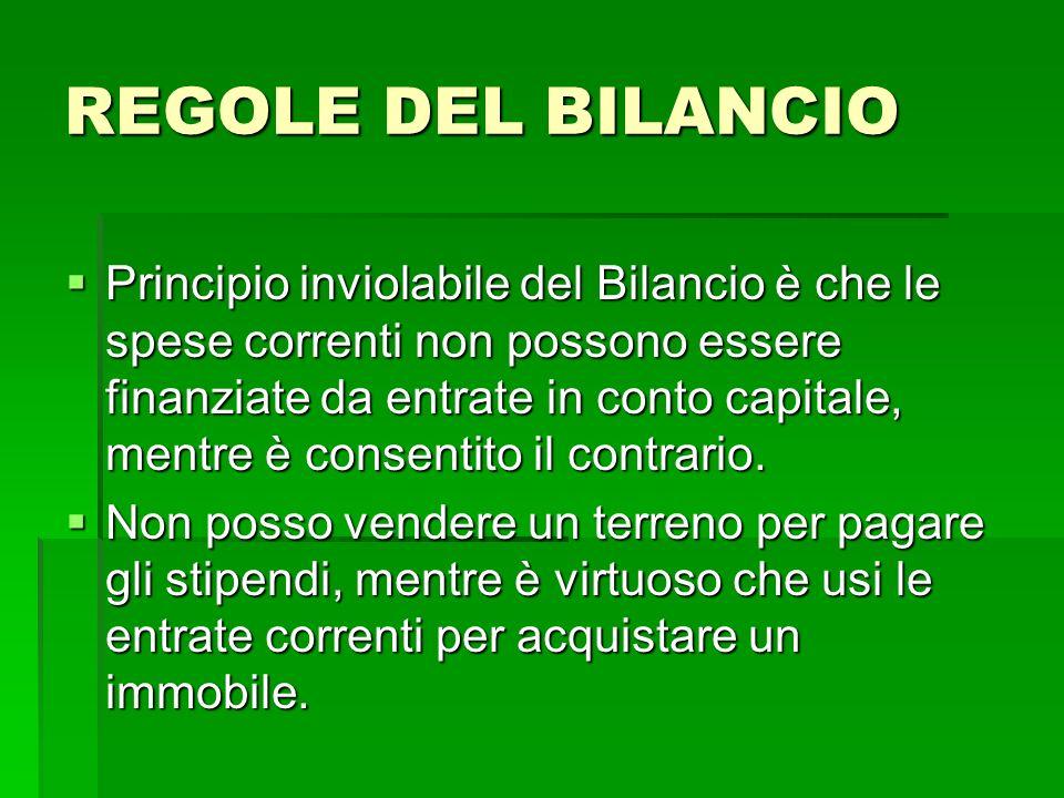 REGOLE DEL BILANCIO Principio inviolabile del Bilancio è che le spese correnti non possono essere finanziate da entrate in conto capitale, mentre è co