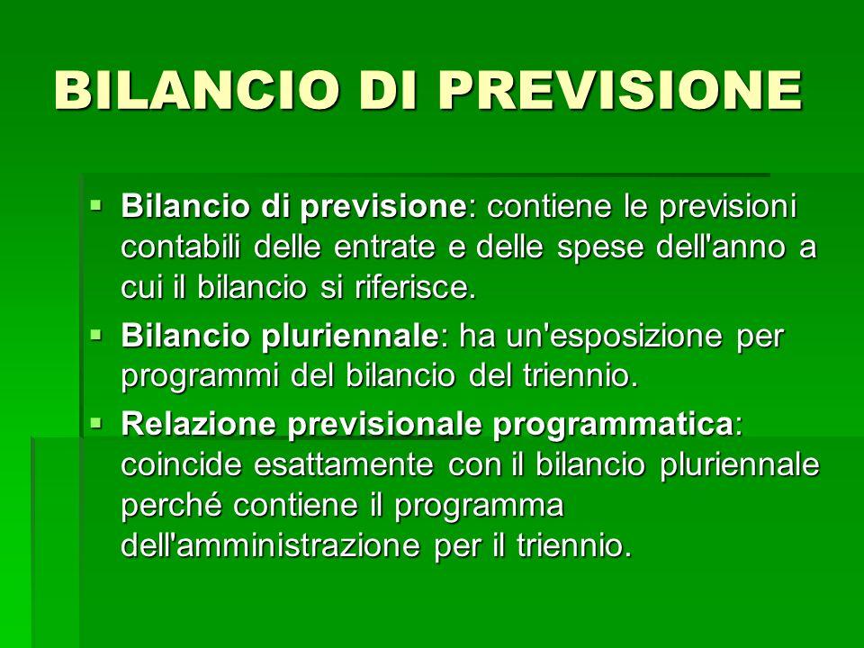 BILANCIO DI PREVISIONE Bilancio di previsione: contiene le previsioni contabili delle entrate e delle spese dell'anno a cui il bilancio si riferisce.