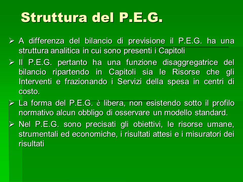 Struttura del P.E.G. A differenza del bilancio di previsione il P.E.G. ha una struttura analitica in cui sono presenti i Capitoli A differenza del bil