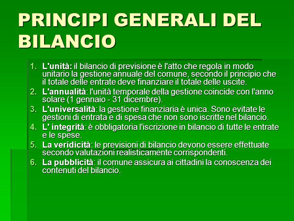PRINCIPI GENERALI DEL BILANCIO 1.L'unità: il bilancio di previsione è l'atto che regola in modo unitario la gestione annuale del comune, secondo il pr
