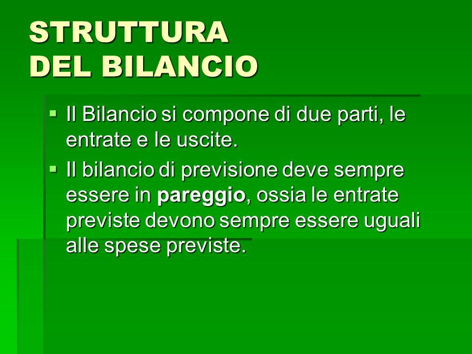 STRUTTURA DEL BILANCIO Il Bilancio si compone di due parti, le entrate e le uscite. Il Bilancio si compone di due parti, le entrate e le uscite. Il bi